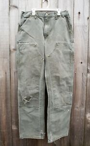 VTG Carhartt Double Knee Pants B01 MOS USA Made Men's W34xL34 actual W33xL33