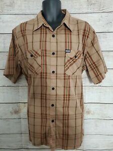 Dixxon Flannel Co Short Sleeve Brown Plaid SS Shirt - Cotton Poly - Mens XL (A2)