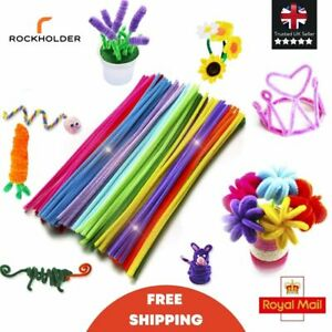 100 Assorted Mix Chenille Children  Craft stems Sticks Puzzle Pipe cleaners UK