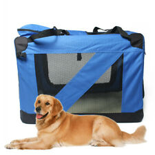 New Large Heavy Duty Travel Soft Foldable Pet Dog Cage Crate Kennel Carrier BLUE