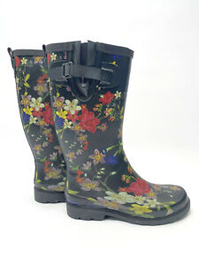 Womens Rubber Rain Boots Floral Print Black Pull On Size 6