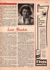▬► CLIPPING Silhouettes d'Aujourd'hui : Lucie RANDOIN - 3/4 page - 1957