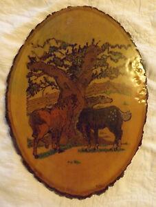 "Burned Wood~Pyrography Oval Tree Slice w/Bark HORSES Farm Scene 10.5"" x 14.5"""
