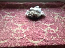 "Antique French Fabric, Raspberry & Ecru Cotton Vintage Home Furnishing 32"" x 50"""