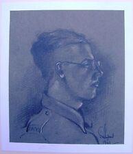 Portraits de petite guerre mondiale 2 jeune soldat specs crayon Robert LYON exhb 1935-40
