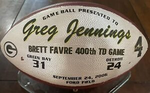 Packers v Lions Jennings Game Used Presentation Football Brett Favre 400 TD Game