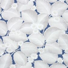 1950s Botanical Vintage Wallpaper White and Gray Flowers and Leaves on Blue