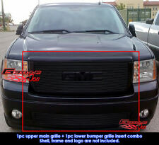 Fit GMC Sierra 1500 New Body/07-2010 Denali Black Billet Grill Combo 2007-2013