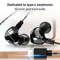 Heavy Bass Type C Earbuds Headphones Stereo Sound Earphone Headset Earbud Mic RF