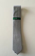 Authentic Tommy Hilfiger Slim Fit  White and Blue Stripe Men's Neck Tie
