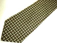 "Polo Ralph Lauren Mens Necktie Tie Brown Grey Basketweave Checkered 56"" Short"