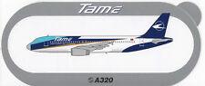 ~ TAME - Linea Aerea Del Ecuador ~ Airbus A320 Sticker / Decal ~ RARE ~