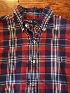 RALPH LAUREN Men's XL Multicolor Plaid Button Down Long Sleeve Shirt Custom Fit