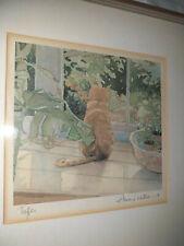 "Vintage Annie Williams imprimir ""Toffee"" Ginger Cat mirando en jardín firmado?"