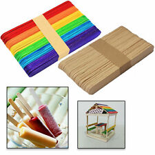 Craft Sticks Wooden Lollipop Lolly Natural Lollies Ice Pops Kids Coloured 120pcs