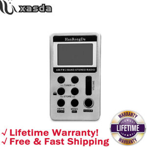 AM FM Radio Mini Radio Portable Pocket Radio Rechargeable USB Port LCD Silver