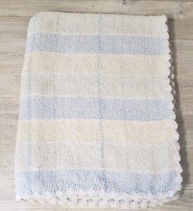 Koala Baby Blue Green Yellow Plaid Stripe Chenille Knit Blanket Scalloped Edge