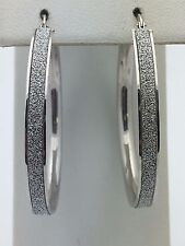 "New 925 Sterling Silver Diamond Dust 1.5"" inches Round Hoop Loop Earrings 4.2 g"