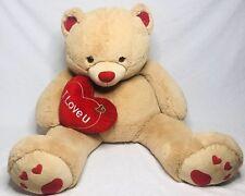"Giant Hug and Luv Plush Stuffed I Love You Heart Brown Valentine Teddy Bear 52"""