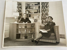 """COUPLE RELAXING IN THE LIVING ROOM BLACK AND WHITE 8""""X10"""" PHOTOGRAPH 1940"""