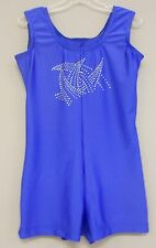 ROYAL LYCRA+RINESTONE BIKETARD/LEO DANCE GYMNASTIC SKATE COSTUME-Size CHILD-L