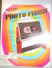 Vintage Brunswick Photo Finish Horse Racing  Advertising Specs Sheet 1974 RARE
