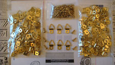"""25 SMALL BRASS TRIANGLE D RING HANGERS & 25 #6-1/2"""" BRASS SCREWS FREE SHIPPING"""