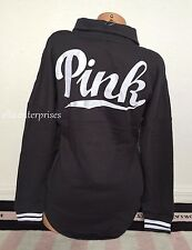 Victoria's Secret Pink Rich Gray White Varsity Quarter Snap Pullover Sweater - L