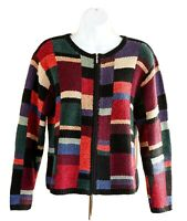 Talbots Hand Knit Color Block Sweater Long Sleeve Full Zip Women's Size PM