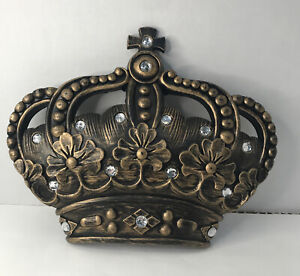 """Jeweled Crown Wall Decor Princess Prince Queen King Antiqued Gold Gilt 12x9"""""""