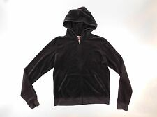 Juicy Couture Womens Hoodie Size XL XLarge Brown Velour Full Zip Tapered Pockets