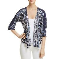 Nic + Zoe Womens Navy Linen Open Front Printed Cardigan Sweater Top XS BHFO 7743