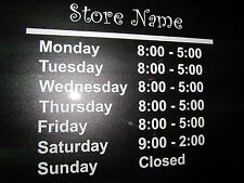 """STORE HOURS CUSTOM DECAL BUSINESS VINYL SIGN 12""""X9"""" RETAIL STORE DOOR WINDOW"""