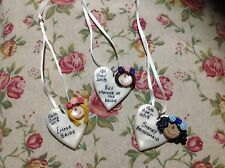 Personalised Wedding Coat Hanger Tag Charm Handmade Made To Order Heart Dress