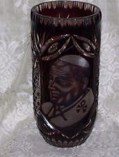 Pope John Paul II Etched Crystal Vase PURPLE Vintage Heavy Crystal Jan Pawee 2