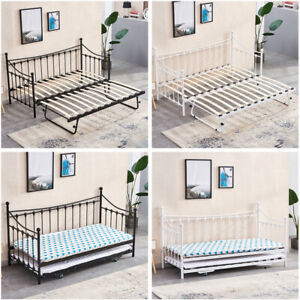 3FT Single Day Bed Trundle Optional Twin Size Metal Bed Frame Guest Room Bedroom