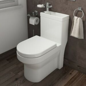 Toilet Basin Combo 2 in 1 Combined Toilet and Sink Space Saving Cloakroom Unit