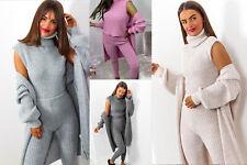 Women sleeveless Polo Neck Cardigan Legging 3Pcs Ribbed Chunky Knitted Tracksuit