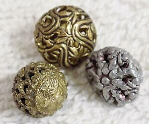 Lot Of 3 Antique Victorian Pierced Filigree Cricket Cage Ball Shaped Buttons