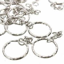 50/100Pcs Silver Blanks Split Hoop Loop Key Rings Keychain With Link Chain Tools
