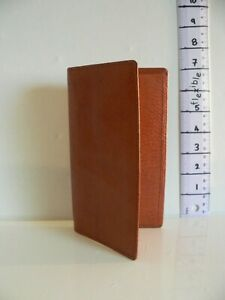 Vintage Japanese Leather Wallet Two Fold Zipped Lined Cards Stamps Notes Coins