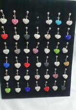 New Beautiful Fashionable Heart Shape Diamante Stunning Belly Button Bar