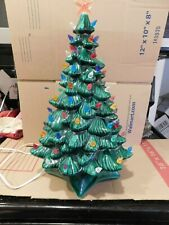 Vintage 1969 Gorgeous Two Piece Lighted Ceramic Christmas Tree