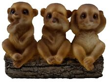 3 Wise Meerkats Hear See Speak No Evil Ornament Statue Figurine Sculpture *13 cm