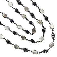 """62"""" Black onyx & Mother Of Pearl Faceted Beads Knotted Long Necklace #90022"""