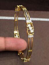 1.10 TCW Round Brilliant Cut Natural Diamonds Bangle Bracelet In Solid 18K Gold