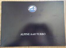 DOCUMENTATION ALPINE A610 TURBO - 03/1991 - EXCELLENT ÉTAT - TRÈS RARE