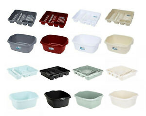 RECTANGULAR WASHING UP BOWL BASIN AND LARGE DISH DRAINER RACK PLATE HOLDER 2 PC