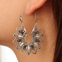 Fashion Lady Metal Earring Lotus Flower Drop Dangle Earrings Jewelry Gift