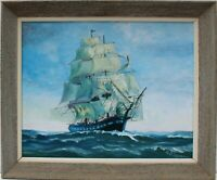 Vintage Oil painting on board, seascape,Sailing Ship in the High Sea, Signed